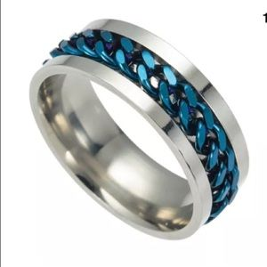 Silver and blue chain band